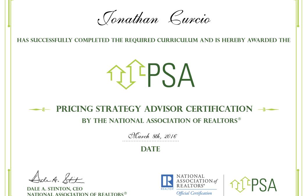 Jonathan Curcio Earns Nar Pricing Strategy Advisor Certification